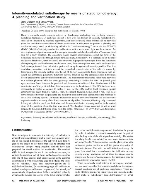 Intensity-modulated radiotherapy by means of static tomotherapy: A ...
