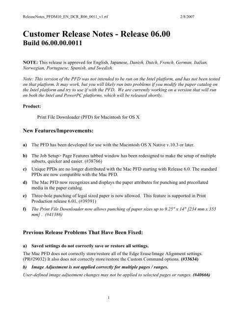 Customer Release Notes - Release 06 00 - Kodak