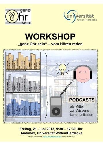 Flyer zum Podcast-Workshop - Universität Witten/Herdecke