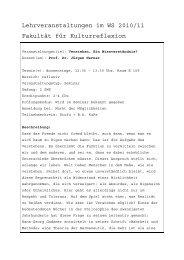 Lehrveranstaltungen im WS 2010/11 Fakultät für Kulturreflexion