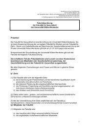 100701_Fakultätsordnung Fakultät für Gesundheit - Universität ...