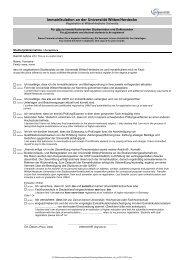 Immatrikulationsformulare - Universität Witten/Herdecke