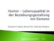 Humor – Lebensqualität in der Beziehungsgestaltung mit Demenz