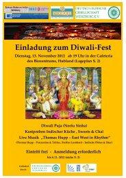 Einladung zum Diwali-Fest