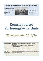Kommentiertes Vorlesungsverzeichnis - Universität Würzburg