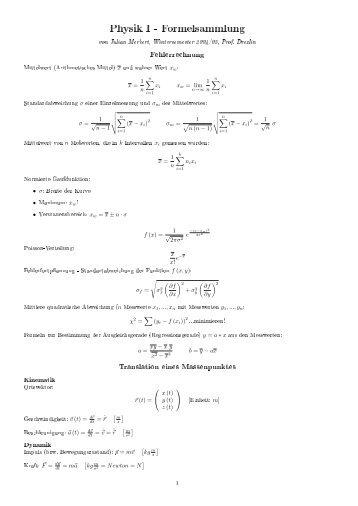 Physik I - Formelsammlung - Physik + Mathematik