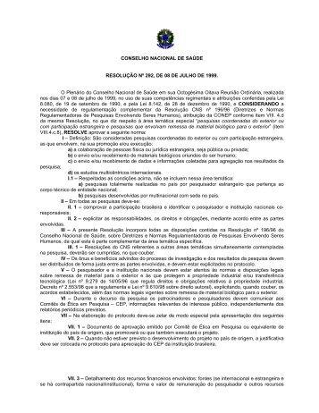 Resolução CNS Nº 292, de 08 de Julho de 1999.