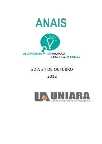 Anais do VII Congresso de Iniciação Científca 2012 - Uniara