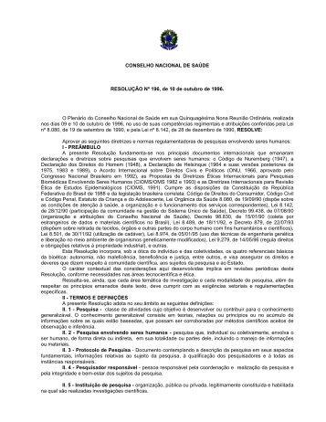 Resolução 196/96 - Uniara