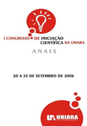 I CONGRESSO DE INICIAÇÃO CIENTÍFICA - ANAIS - Uniara