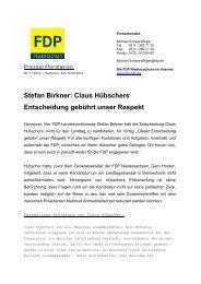Stefan Birkner: Claus Hübschers Entscheidung gebührt unser Respekt