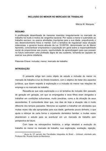 INCLUSÃO DO MENOR NO MERCADO DE TRABALHO - UniBrasil