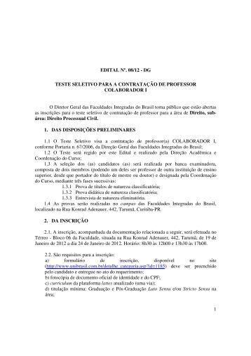 1 EDITAL Nº. 08/12 - DG TESTE SELETIVO PARA A ... - UniBrasil