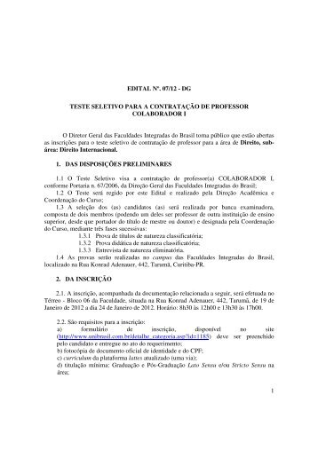 1 EDITAL Nº. 07/12 - DG TESTE SELETIVO PARA A ... - UniBrasil