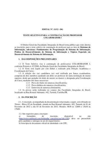 1 EDITAL Nº. 11/12 - DG TESTE SELETIVO PARA A ... - UniBrasil