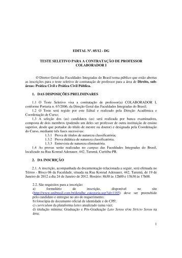 1 EDITAL Nº. 05/12 - DG TESTE SELETIVO PARA A ... - UniBrasil