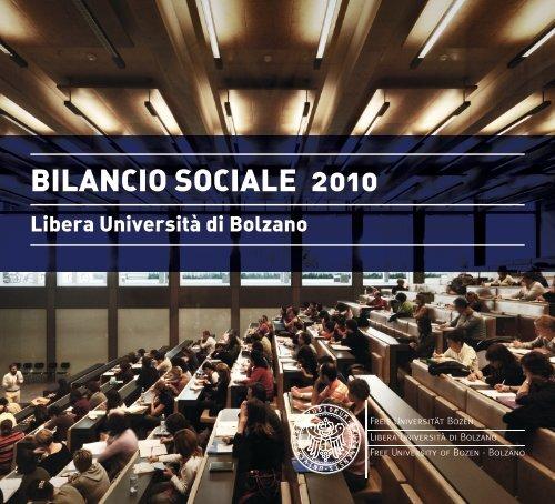 BILANCIO SOCIALE 2010 - Libera Università di Bolzano