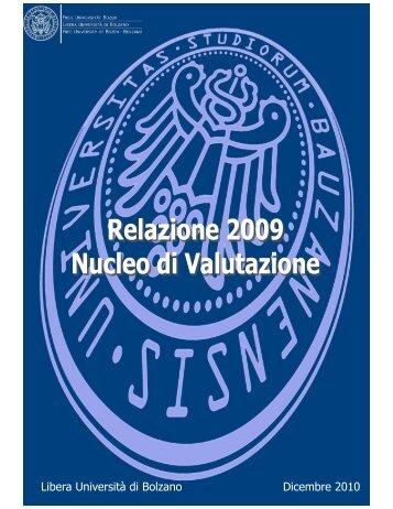 Relazione sull'anno 2009 - Libera Università di Bolzano