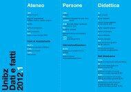 Unibz Dati e fatti 2012 .1 Ateneo - Libera Università di Bolzano