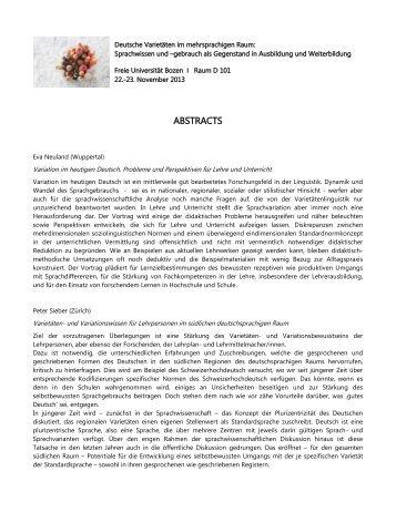 ABSTRACTS - Freie Universität Bozen