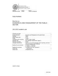 master in economics and management of the public sector