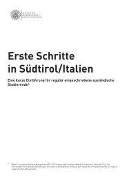 Erste Schritte in Südtirol - Freie Universität Bozen