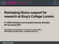 Reshaping library support for research at King's College ... - UNICA