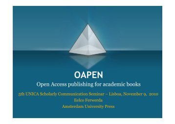 Open Access publishing for academic books - UNICA