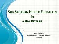 SUB-SAHARAN HIGHER EDUCATION A BIG PICTURE - UNICA