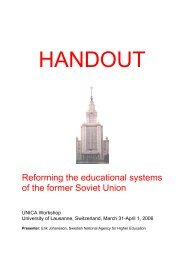 Reforming the educational systems of the former Soviet Union - UNICA