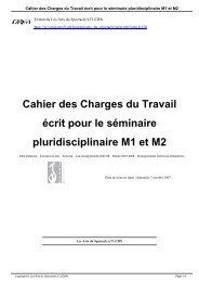 Cahier des Charges du Travail écrit pour le séminaire ...