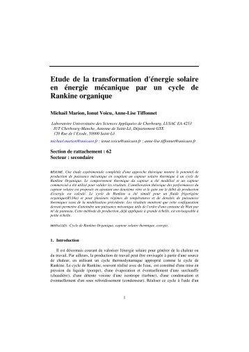 Etude de la transformation d'énergie solaire en énergie mécanique ...