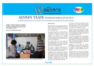 In the KCO Admin Section, it's team work, shared ... - Unicef