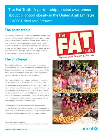 The Fat Truth: A partnership to raise awareness about ... - Unicef