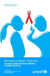 What works for children in south asia hiv/aids prevention - Unicef