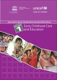 EFA Goal 1: Early childhood care and education; Asia ... - Unicef