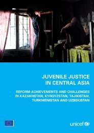 JUVENILE JUSTICE IN CENTRAL ASIA - Unicef