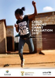 Child Support Grant Evaluation 2010, Qualitative Research Report