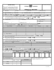 UN Personal History Form PHP P11 - Unicef