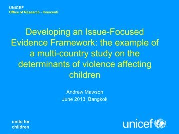 A multi-country study on the determinants of violence affecting - Unicef
