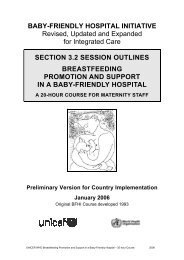section 3.2 session outlines breastfeeding promotion and - Unicef