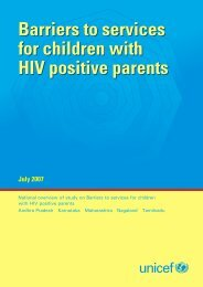 Barriers to services for children with HIV positive parents - Unicef