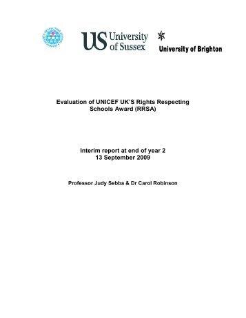 Evaluation of UNICEF UK'S Rights Respecting Schools Award (RRSA)