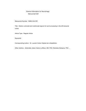 Elsevier Editorial(tm) for NeuroImage Manuscript Draft Manuscript ...