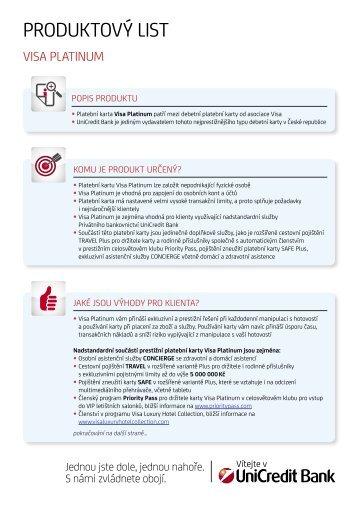 Visa Platinum - produktový list - Unicredit Bank