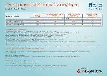 ceník podfondů pioneer funds a pioneer pf - Unicredit Bank