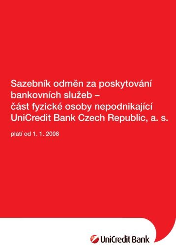 platí od 1. 1. 2008 - Unicredit Bank
