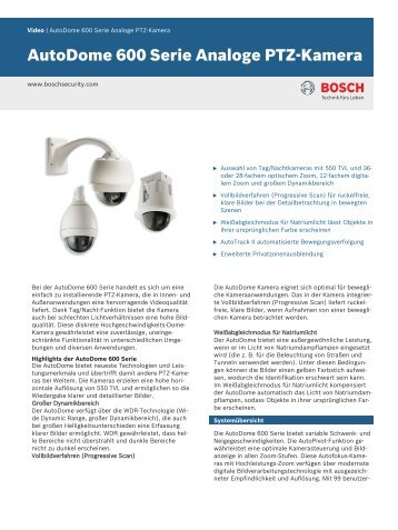 AutoDome 600 Serie Analoge PTZ-Kamera - Bosch Security Systems