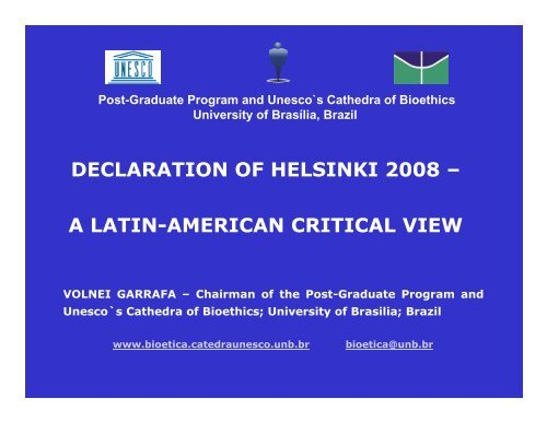 Volnei Garrafa, Chairman, Post-Graduate Programme in ... - UNICRI