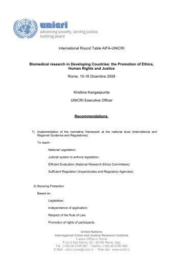 UNICRI Recommendations